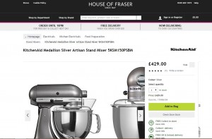 House of Fraser, ecommerce optimisation, call to action button